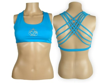 Ganesh Sky Blue Yoga Bra Top -Ganesh Criss Cross design workout bra - Athletic bra - sports bra - Hot Yoga Bra Top - Lycra Cotton Blend