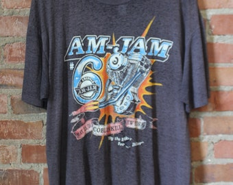 Vintage Paper Thin Graphic T Shirt Am-Jam Motorcycle Jamboree 90s XL Black Grey Biker Harley Davidson