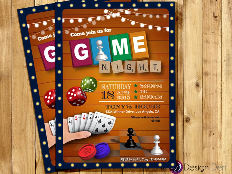 Game Night Invitation Game Party Invite Old School Games - Party invitation template: casino theme party invitations template free