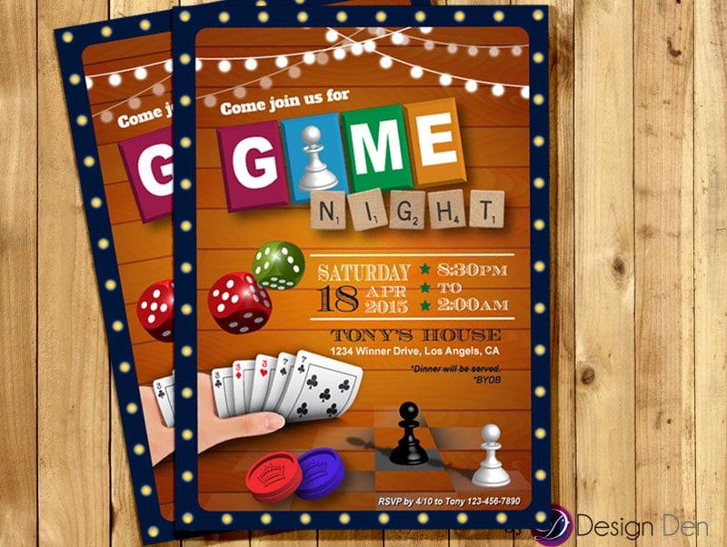 Game Night Invitation Game Party Invite Old School Games - Party invitation template: casino theme party invitations template free