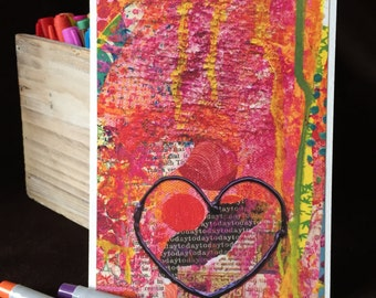 Collection of 4 Inspiring Heart Cards - Collage Reproductions on 5x7 Luxurious Cards w Envelopes