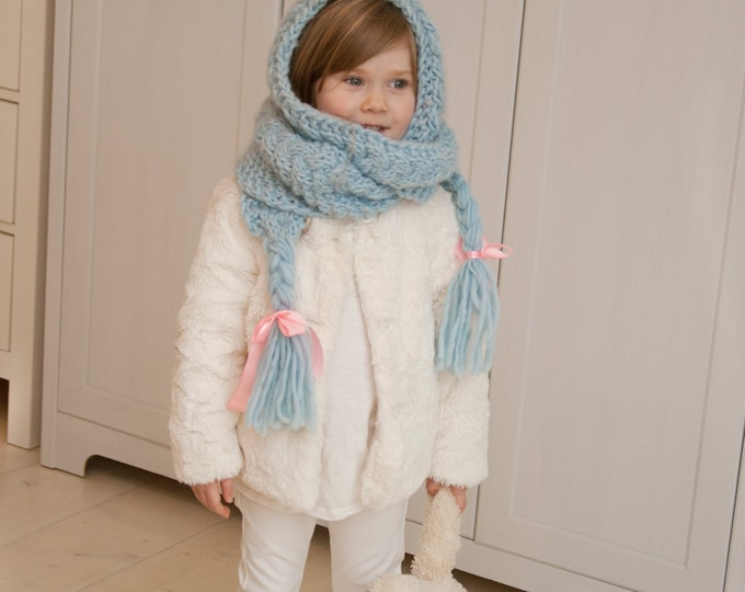 KNITTING PATTERN hooded scarf Anna with cables and braids (toddler/child/adult sizes)