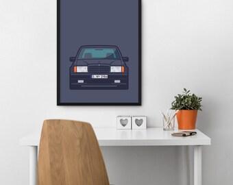 Mercedes 300E Hammer W124 E-Class Car Poster Art Print