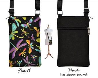 iPhone 6 / Plus  Case Mini Crossbody Bag, Dragonfly Cell Phone Holder  Black Small Cross Body Handbag, purple blue yellow pink MTO