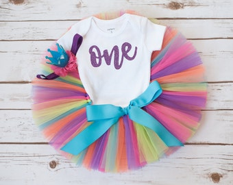 Rainbow first birthday outfit 'Teresa' rainbow tutu set one birthday outfit 12 month tutu set 1st birthday girl outfit birthday outfit girl