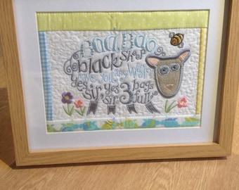 Handmade machine embroidered nursery rhyme pictures, nursery, Childs bedroom, baby shower, birthday gift, christening gift