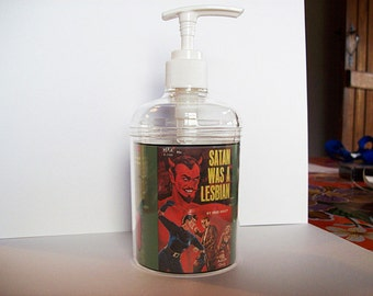 lesbian pulp soap dispenser retro vintage pulp fiction paperback pin up bathroom decor