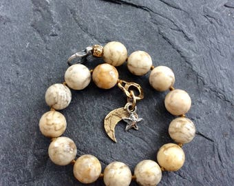 Moon and star bracelet, beaded charm bracelet, chunky gemstone bracelet, celestial jewellery, stacking bracelet, unique bracelet, Gift