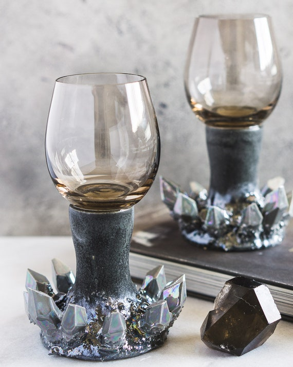 Set of Two Smokey Quartz Crystal Wine Glasses
