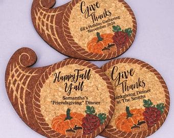 Holiday Favors, Friendsgiving Party Decor, Wedding Favor Coasters, Fall Decorations, Personalized Cornucopia Shaped Cork Coaster - Set of 12