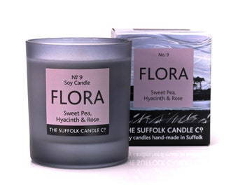 FLORA - Sweet Pea, Hyacinth and Rose - handmade scented candle 100% soy wax in a smoked glass container 200g