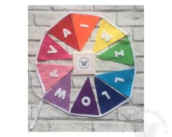 Rainbow bunting, rainbow banner, rainbow nursery decor, playroom decor, baby shower decor, baby gift