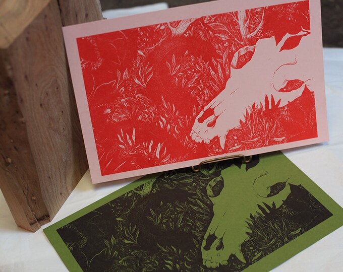 LIMITED EDITION Single Color Risograph Printed Illustration | Nature art print | Skull and Snake Print