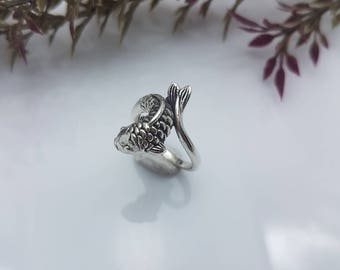 Fish ring,Women ring,Sterling Silver ring.