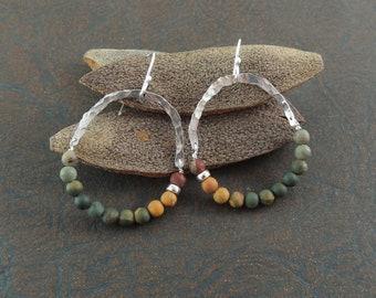 Perch Handmade Sterling Silver Picasso Jasper Hoop Earrings Hammered Silver Matte Picasso Jasper Southwestern Earrings Beaded Silver OOAK