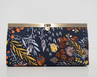 Accordi-Anna Wallet - Navy Flora - Made to Order