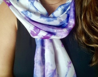 Plum Violet and Navy Tie Dye Silk Scarf