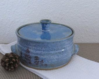 Lidded Casserole Baking Dish - Handmade Stoneware Pottery Ceramic - Sky Blue and White - Trees - 1-1/2 Quart