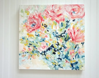 """Floral Expression No.1, 20""""x 20"""", Acrylic Painting, Floral Painting, Bouquet Painting, Original Painting"""