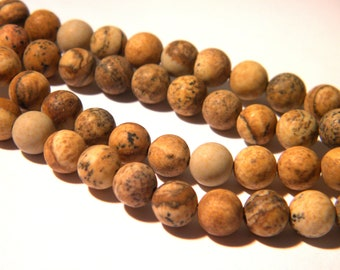 20 bead - 6 mm frosted Jasper - Jasper frosted - gems stones - raw effect - H39