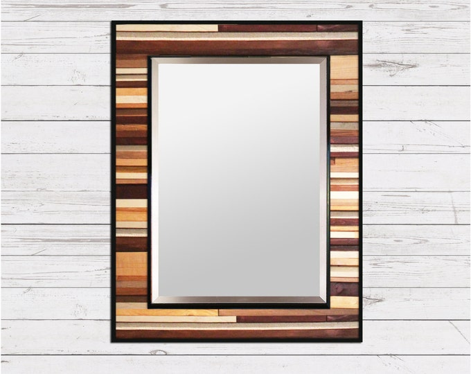 "Natural Reclaimed Wood Mirror - ""Natural Reflection""- Wood Stripe Wall Sculpture - 34x40"" - Modern Wood Wall Art"