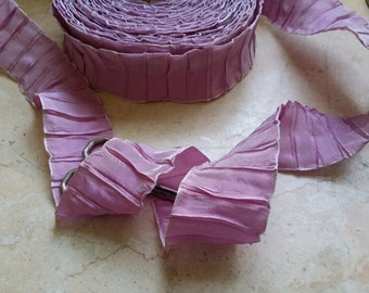 "1.5"" Vintage French Wired Ribbon Trim Pleated Gorgeous two tone Pink-Lilac white Ribbonworks, Ribbon Flowers, Bows, Bridal, Wedding, floral"