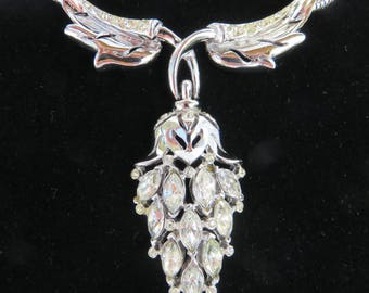 Vintage Coro Craft Clear Rhinestone Silver Drop Necklace