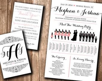 Wedding Silhouette Program Wedding Silhouette Card - Meet the Bridal Party Silhouette Wedding Program Fan Printable | YOU print or WE print