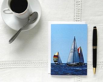 Blank Greeting Card, Nautical Card, Sailboat Notecard, Thank You Card, Blue Notecard,Photo Notecard,Blank Cards with Envelopes,Sailboat Card