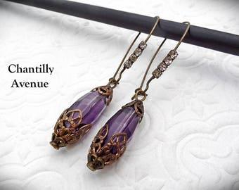 Amethyst Czech Glass Earrings Victorian Jewelry Handmade Rhinestone Gothic Earrings