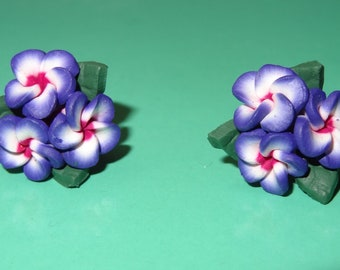 Polymer Clay Earrings Three Purple Plumeria Flowers with Leaves