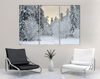 3 Panel Split (Triptych) Canvas Print. Winter forest snow photography for living room decor & interior design.wall art