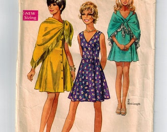 Vintage 70s Dress and Shawl Sewing Pattern Bust 32 Sleeveless Flared A-line Dress Princess Seams V Neck Fringed Shawl Mini or Knee Length
