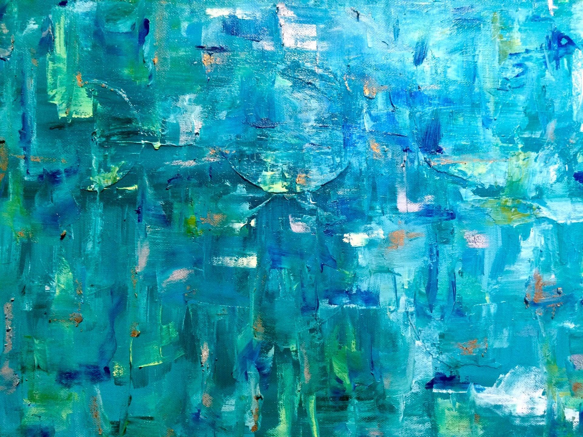 Art moderne bleu vert turquoise aquatique peinture for Peinture bleu turquoise
