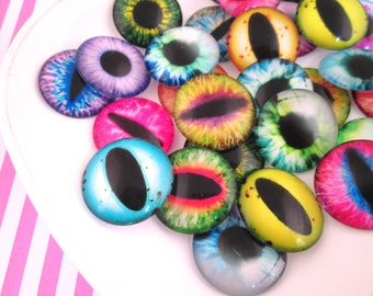 Six 25mm Multicolor Glass Eye Cabochons , Perfect for Halloween #1062