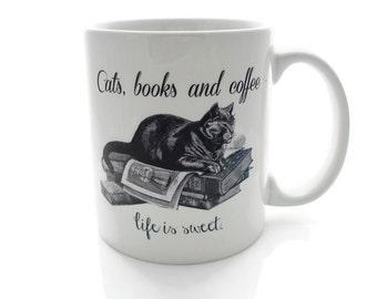 CATS, Books and Coffee - Life is Sweet- 11 ounce Coffee Mug - Superb GIFT