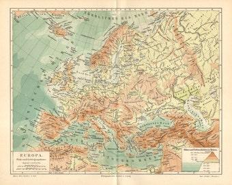 1890 Original Antique Relief Map of Europe