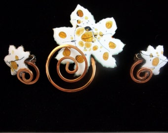 Matisse Renoir Demi - White Copper Brooch and Clip Earrings.