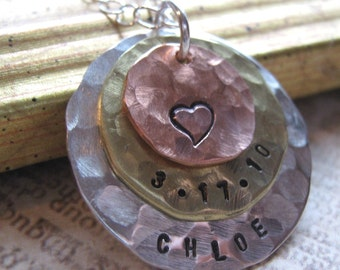 Hand Stamped Necklace Layered mixed metal personalized  mothers necklace - Personalized Necklace