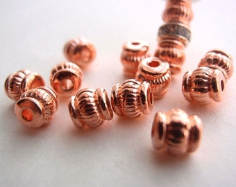 25 Beads, 5 mm Rose Gold Color (Dark Rose Tint), Jewelry making Supply, Barrel Brass High Luster beads, lead free & nickel free