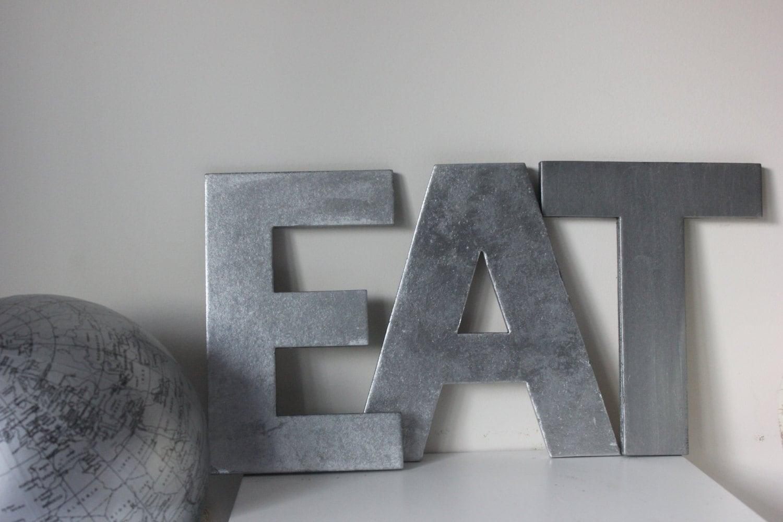 Galvanized Letter U 3 Faux Metal Letters Name Decor Signs Zinc Finish Letter