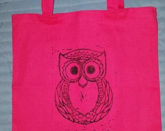 Owl Linoleum Tote Bag Canvas