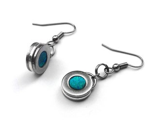 Stainless Steel Jewelry, Teal Earrings, Round Dangle Earrings, Aqua Blue, Customizable Color, Bridesmaid Gift