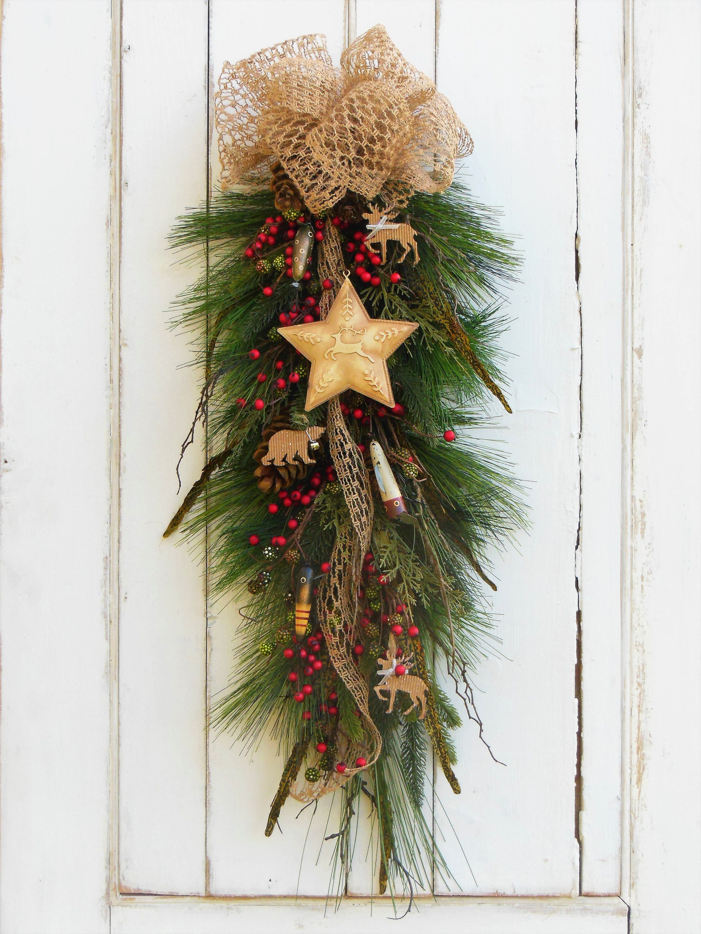 door wreath winter il wreaths fullxfull decor swag hunting listing christmas fishing cabin woodland