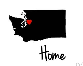 Seattle Washington State Silhouette with Heart and word Home - Instant Download File - svg / jpg / Studio3 / PDF