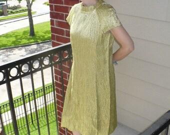60s 70s Vintage Plus size Lime Green Metallic Short Sleeve Bond Girl mini dress by jeansvintagecloset on Etsy