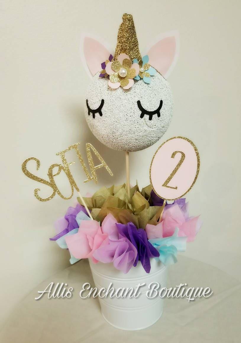 Unicorn birthday table centerpiece decorations