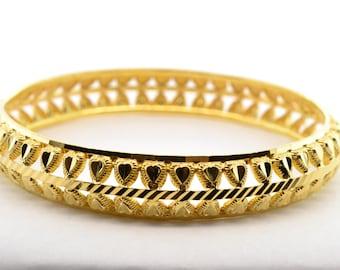Solid 22K Yellow Gold 11mm Wide Bangle Bracelet
