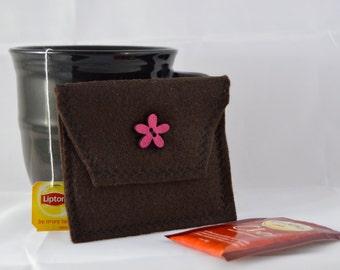Brown Tea Bag Pouch, Tea Bag Carrier, Brown Tea Tote, Reusable Tea Pouch, Tea Wallet, Felt Envelope, Tea Accessory, Mother's Day Gift