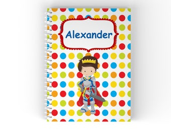 Prince Personalized Notebook - Prince Red Cape Blue Green Polka Dot  with Name, Customized Spiral Notebook Back to School